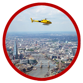 Flying over central London
